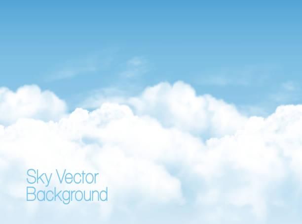 白い透明な雲と青い空を背景。ベクトルの背景。 - 空点のイラスト素材/クリップアート素材/マンガ素材/アイコン素材