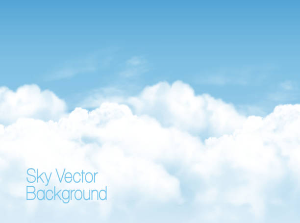 blue sky background with white  transparent clouds. vector background. - clouds stock illustrations