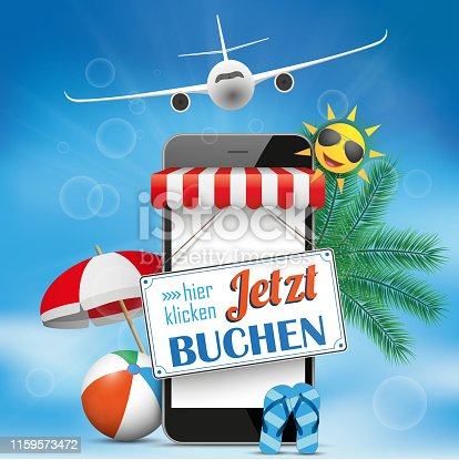 German text Jetzt Buchen, hier klicken, translate Book Now, click here. Eps 10 vector file.