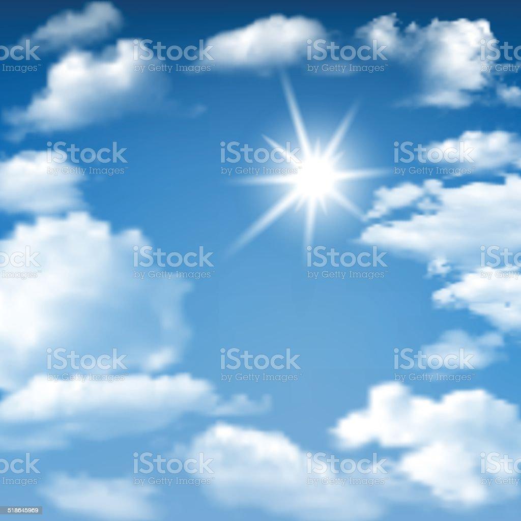 Blue Sky Sunny Cloudscape vector art illustration