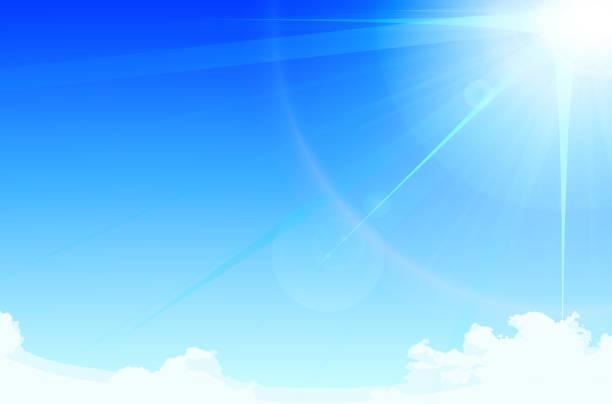 illustrazioni stock, clip art, cartoni animati e icone di tendenza di blue sky - flare