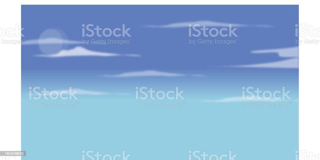 Blue sky vector art illustration