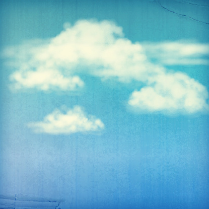 Vintage sky old paper vector background with white clouds, subtle grunge texture in retro style