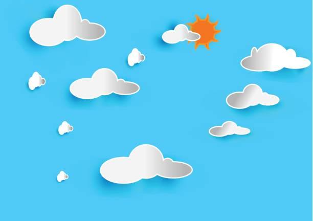 Blauer Himmel mit Wolken und Sonne – Vektorgrafik