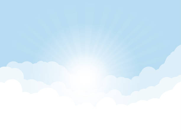 Blue sky with clouds Blue sky, and high clouds. Rising sun with rays above clouds. Religion or heaven concept. White clouds and light blue sky color. heaven stock illustrations