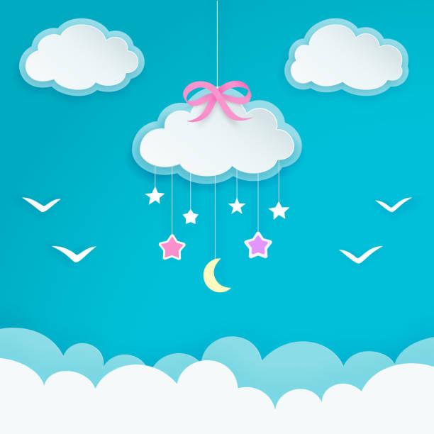 Ciel bleu avec suspension nuage avec pink bow, croissant de lune, étoiles et silhouettes des oiseaux. Étiquettes en papier nuage forme. Décor de pépinière de salle ou de bébé pour enfants. Papier peint décoratif élégant et minimal. Vector. - Illustration vectorielle