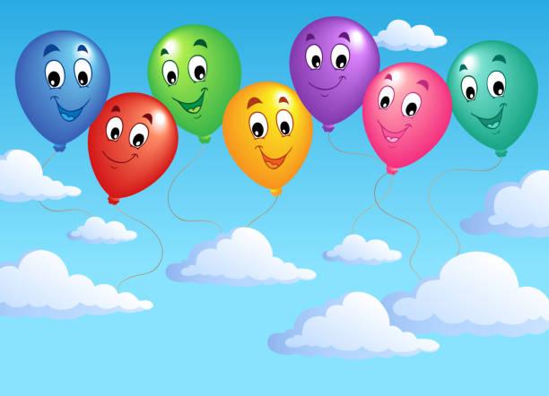 illustrations, cliparts, dessins animés et icônes de ciel bleu avec des ballons gonflable 2 - ballon anniversaire smiley