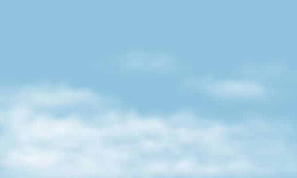blue sky with realistic white clouds, with space for your text - vector - sky stock illustrations
