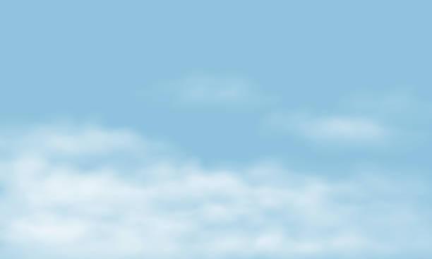 blauer himmel mit realistischen weißen wolken, mit platz für ihren text - vektor - himmel stock-grafiken, -clipart, -cartoons und -symbole