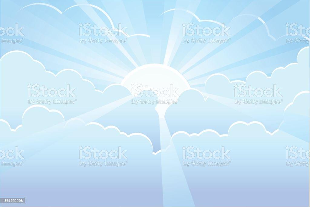 Blue sky with sunrays vector vector art illustration