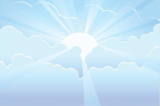 Blue sky with sunrays vector Vector illustration of a blue sky with sunrays. heaven stock illustrations