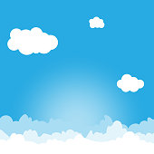 Blue sky with white cloud outdoor landscape vector background illustration.