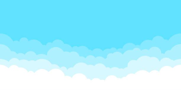 白い雲の背景を持つ青空。雲の境界線。シンプルな漫画のデザイン。フラットスタイルのベクターイラスト。 - 空点のイラスト素材/クリップアート素材/マンガ素材/アイコン素材