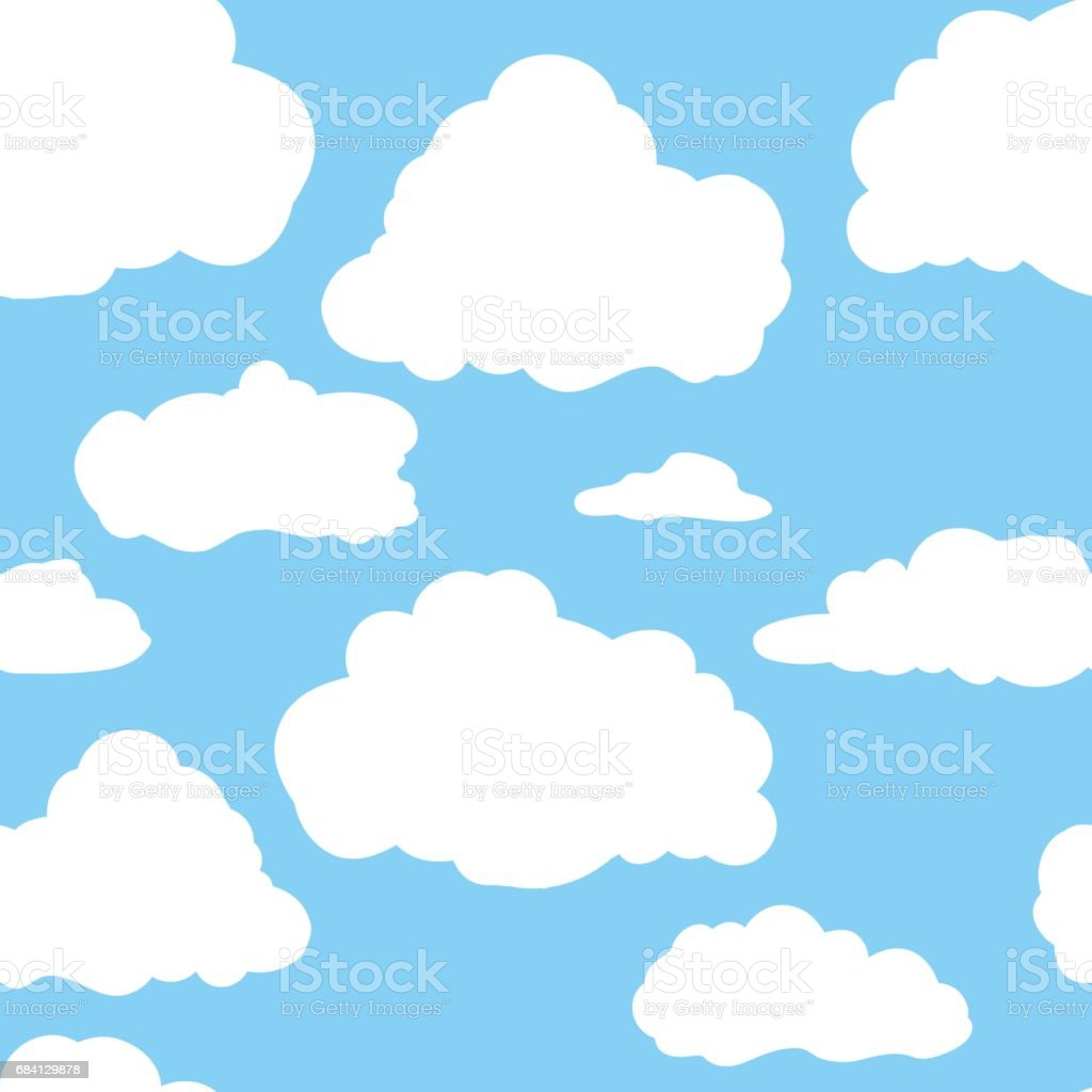Blue sky with white clouds. Hand drawn seamless pattern. Vector illustration in cartoon style blue sky with white clouds hand drawn seamless pattern vector illustration in cartoon style - immagini vettoriali stock e altre immagini di alla moda royalty-free