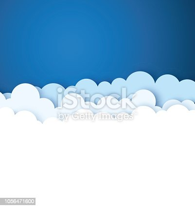 Blue sky with white paper decorative clouds. Paper cut style. Vector background.