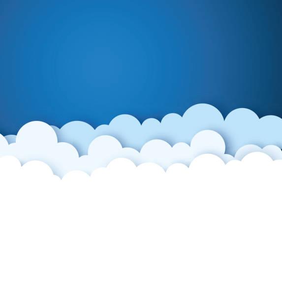 błękitne niebo z białym papierem ozdobne chmury. tło wektorowe. - chmura stock illustrations
