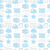 Blue sleep time sketch  seamless vector pattern. Night illustration.