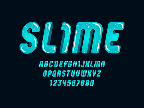 Blue slime font, cute alphabet in the cartoon style, italic rounded letters from A-Z and numbers from 0-9 for you designs: logo, t-shirt, card, poster, vector illustration 10EPS