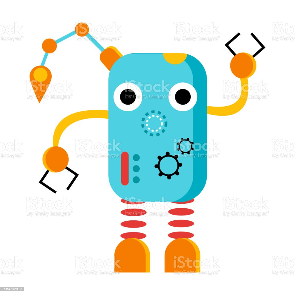 Blue smal robot with wheels and buttons royalty-free blue smal robot with wheels and buttons stock vector art & more images of animal