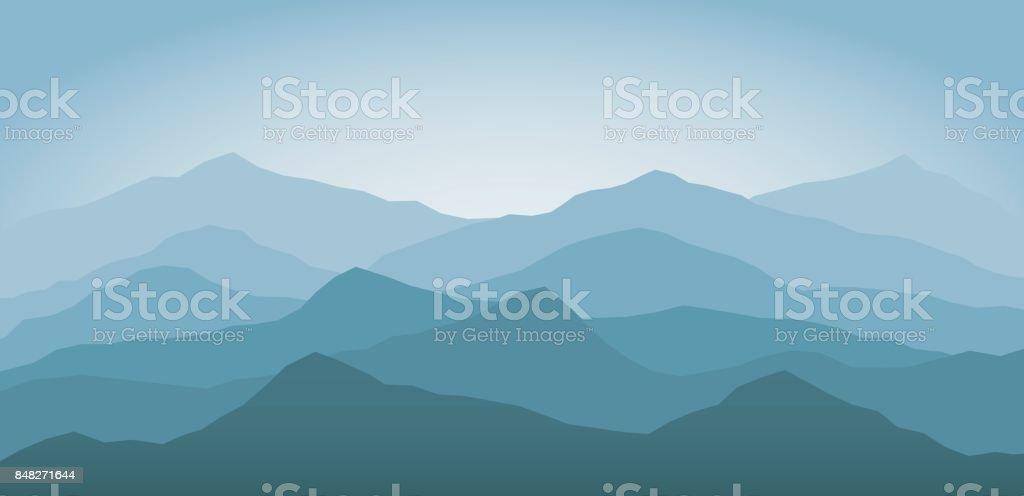 Blue snow mountains at dawn landscape background vector art illustration