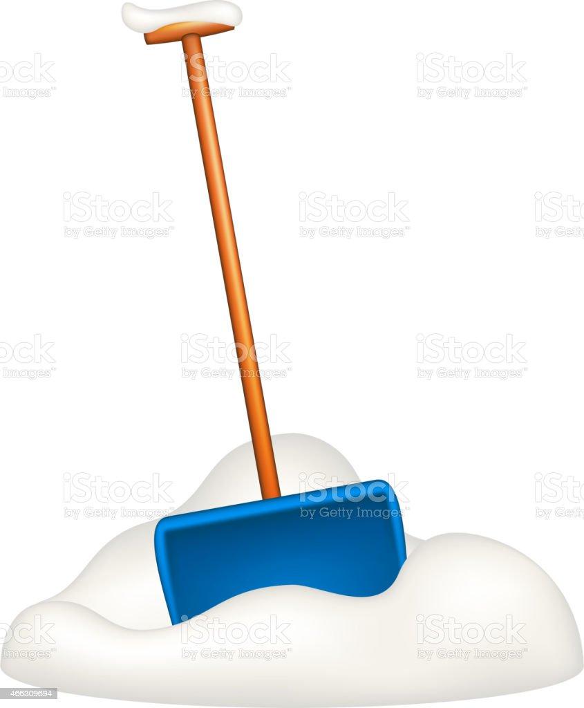 Blue snow shovel standing in snow vector art illustration