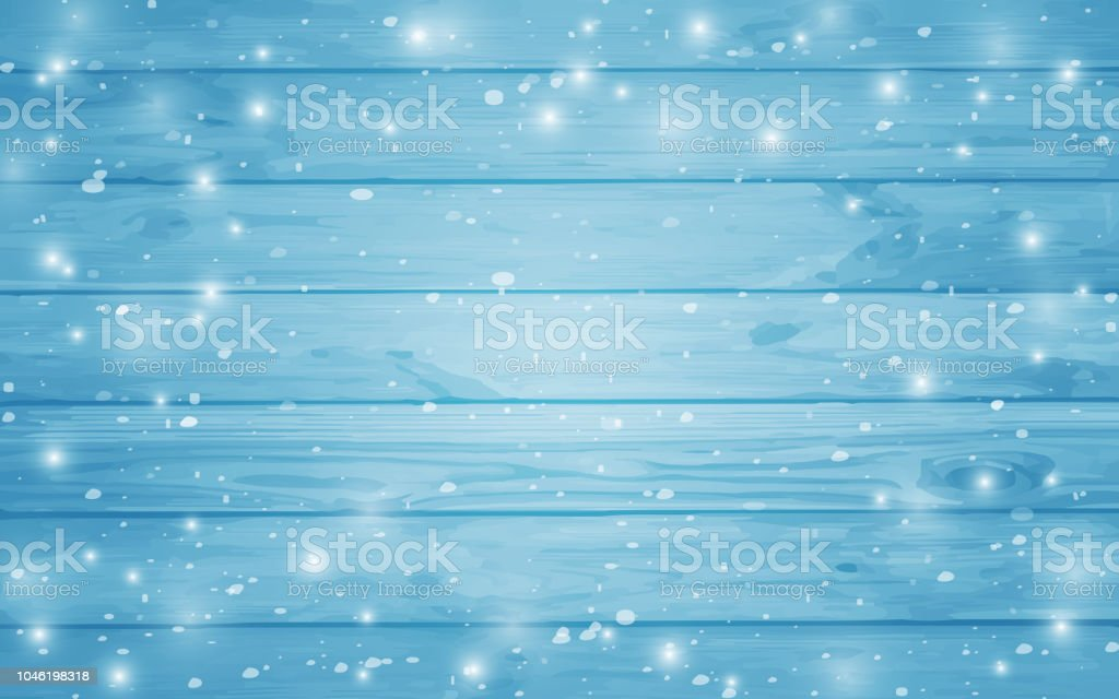 Blue snow-covered wooden background. Winter. Snowstorm. Snowfall. Christmas wood background. Night and snowflakes on the background of boards. - Royalty-free Abstract stock vector