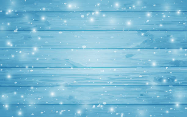 Blue snow-covered wooden background. Winter. Snowstorm. Snowfall. Christmas wood background. Night and snowflakes on the background of boards. Wooden texture background. Vector illustration of blue wood plank wall. Snowflakes on a wooden background. Christmas background. Night. Vector ilustration.Eps 10. wall building feature stock illustrations