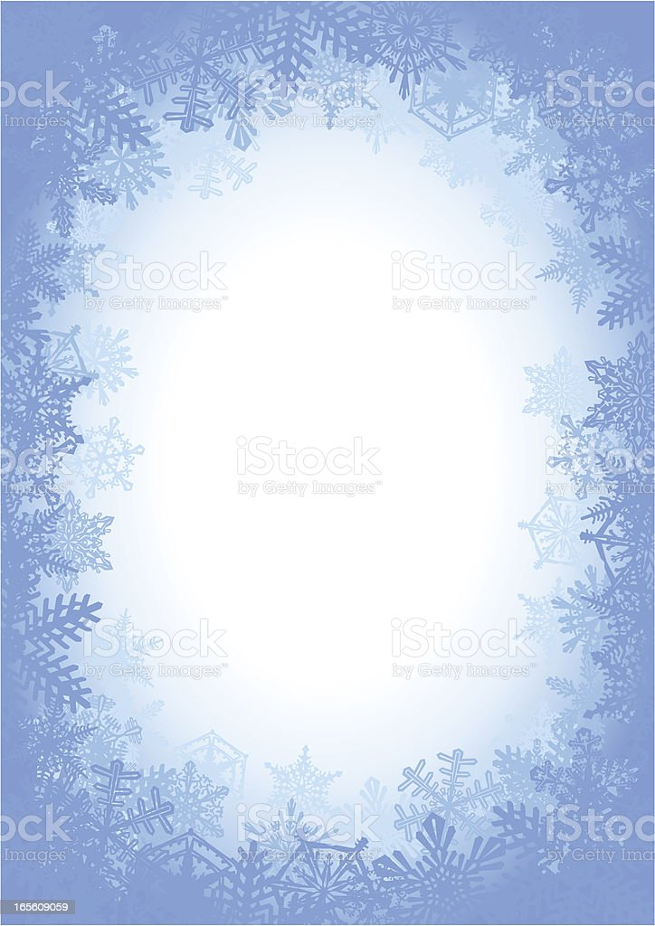 Blue Snowflake Frame Background royalty-free stock vector art