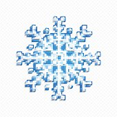 Blue snowflake made of 3d cubes. Pixel art style