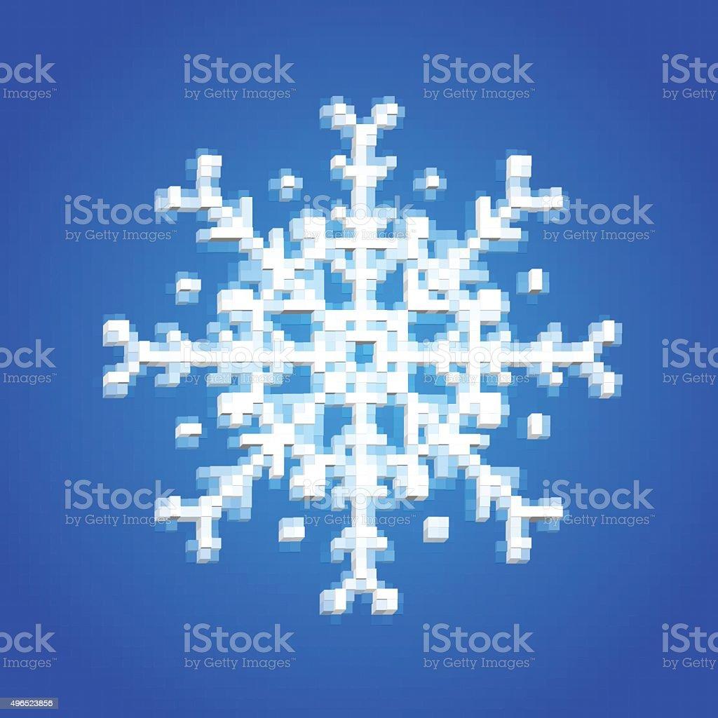 Flocon De Neige Bleu En 3d De Cubes Style De Pixel Art