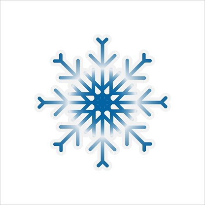 blue snowflake, perfectly reflects sunlight
