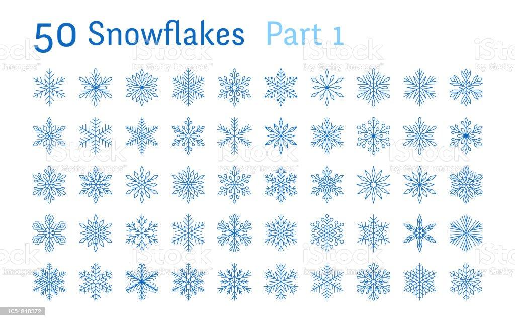 Blaue Schneeflocken Sammlung isoliert auf weißem Hintergrund. Flache Linie schneit Icons Bundle, süße Schnee Flocken Silhouette. Schöne Element für Weihnachten Banner, Karten. Neujahr-ornament - Lizenzfrei Abstrakt Vektorgrafik