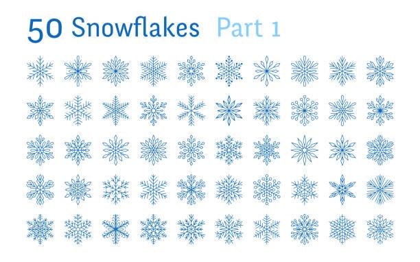 藍色雪花收集查出的白色背景。平線下雪圖示捆綁, 可愛的雪花片剪影。聖誕旗幟的好元素, 卡片。新年飾品 - snowflakes 幅插畫檔、美工圖案、卡通及圖標
