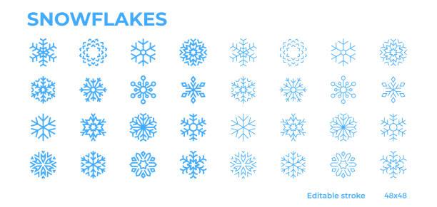stockillustraties, clipart, cartoons en iconen met blauwe sneeuwvlokken pictogrammen voor de winter, kerstmis en nieuwjaar decoratie. bewerkbare lijn. - snowflakes