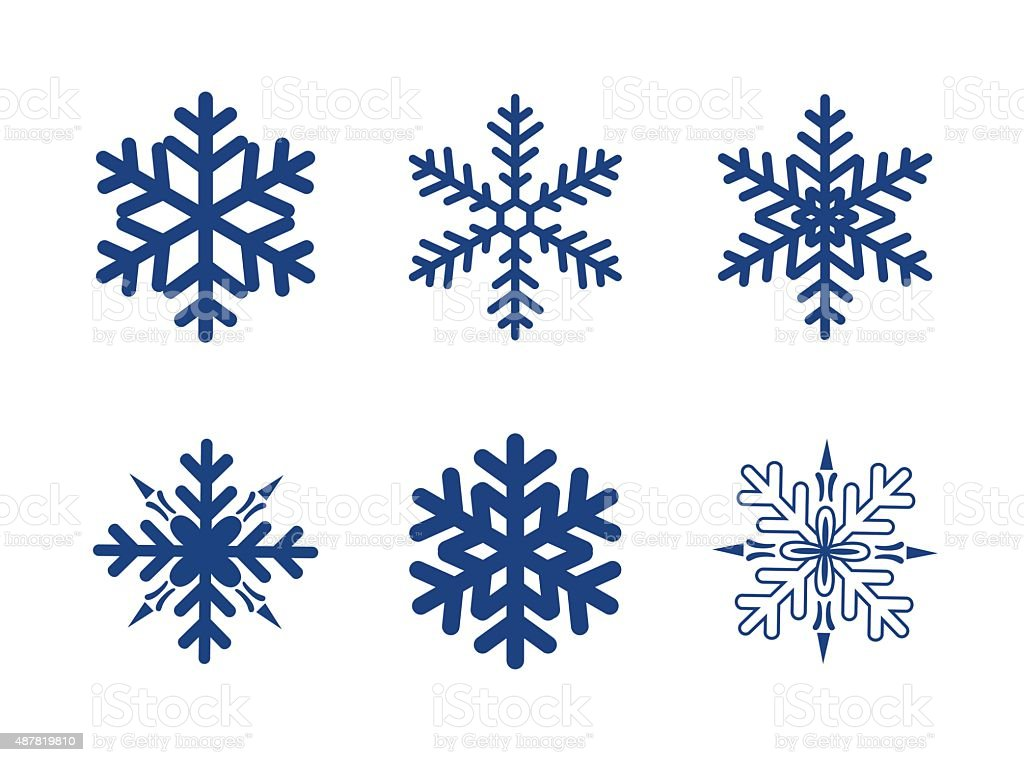 blue snowflakes isolated on white vector art illustration