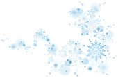 Swirl of blue Christmas snowflakes on white