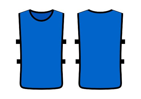 Blue Soccer Football Training Vest Template On White Backgroun