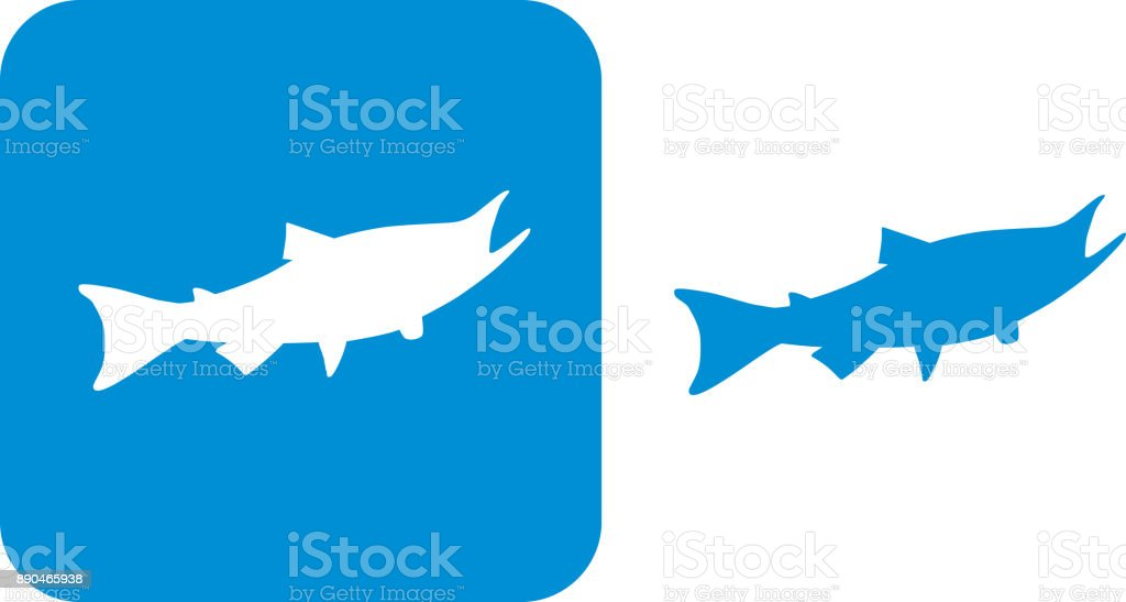 Blue Sockeye Salmon Icons vector art illustration