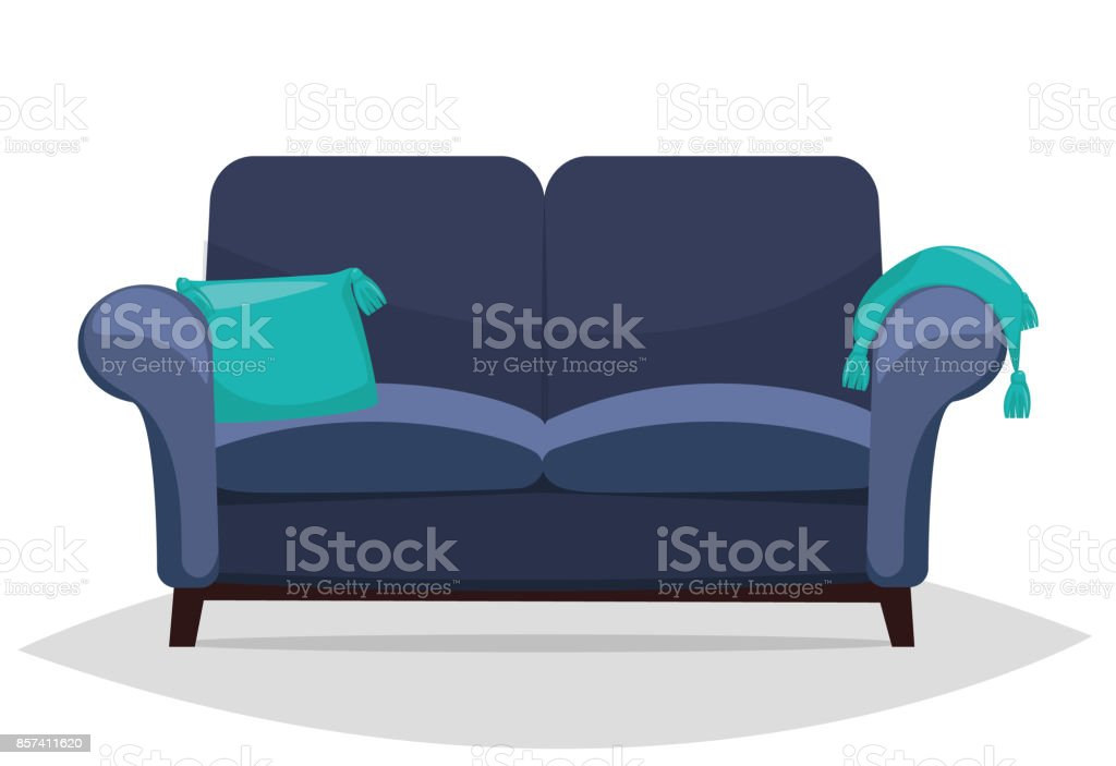 Blue Sofa And Pillows. Vector Art Illustration