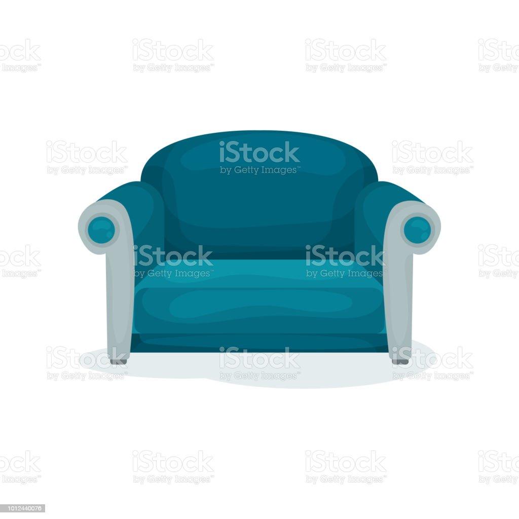 Blauen Sofa, Wohnzimmermöbel, Interior Design Element Vektor Illustration  Auf Weißem Hintergrund Lizenzfreies Blauen Sofa