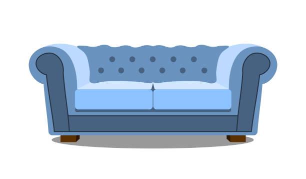 blaues sofa auf weiße symbol realistische moderne bequemen sofa. flache design vektor-illustration - stuhllehnen stock-grafiken, -clipart, -cartoons und -symbole