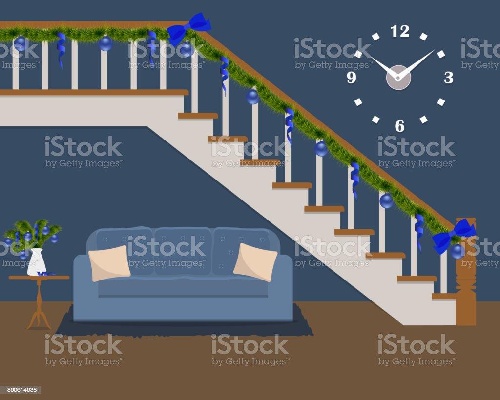Blaues Sofa Mit Kissen Befindet Sich Unter Der Treppe Mit