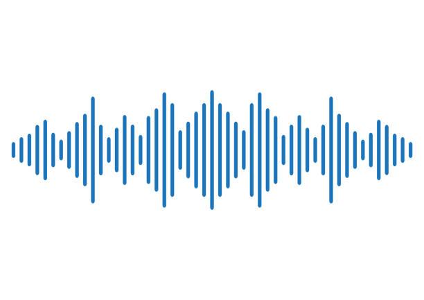 blauer klangwellenhintergrund. vektor - sound wave grafiken stock-grafiken, -clipart, -cartoons und -symbole