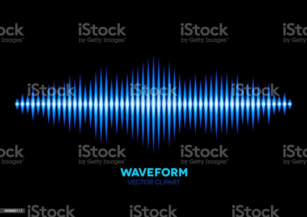 Blue sound waveform vector art illustration