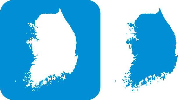 stockillustraties, clipart, cartoons en iconen met blauwe zuid-korea pictogrammen - zuid korea
