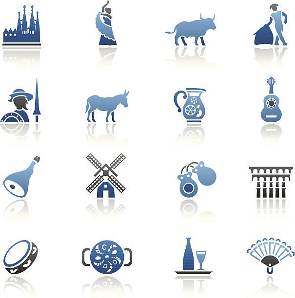 stockillustraties, clipart, cartoons en iconen met blue spanish icon set - castagnetten