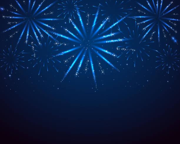 Blue sparkle fireworks vector art illustration