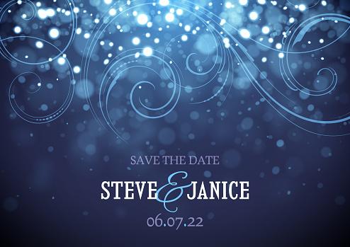Blue Sparkling lights Wedding invitation