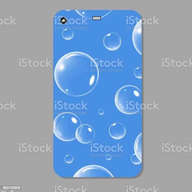 Niebieska Musująca Obudowa Na Telefon Niebieski Szablon Pokrywa Smartfon Z Bąbelkami Ilustracja Wektorowa - Stockowe grafiki wektorowe i więcej obrazów Abstrakcja