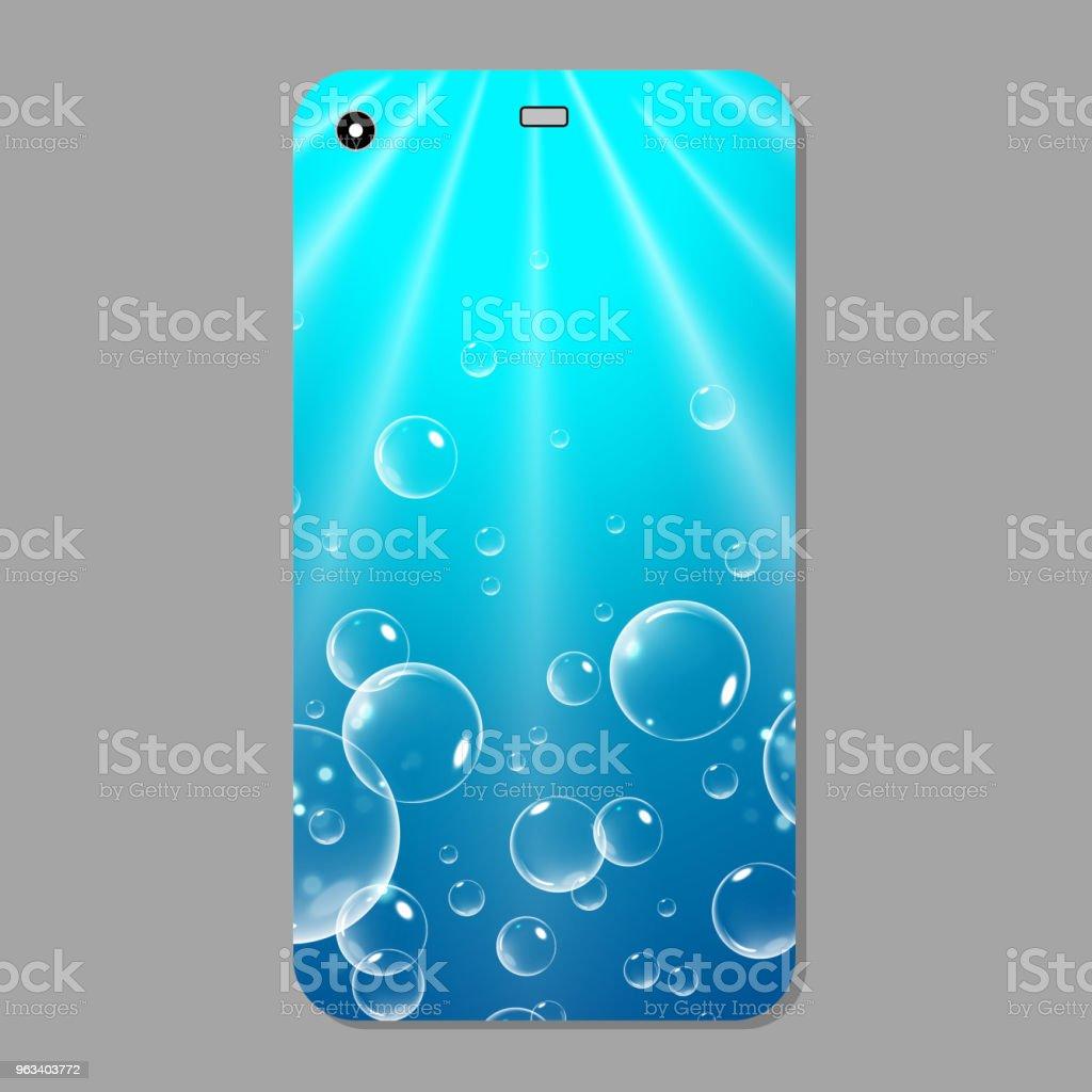 Niebieska musująca obudowa na telefon. Niebieski szablon pokrywa smartfon z bąbelkami. Ilustracja wektorowa - Grafika wektorowa royalty-free (Abstrakcja)